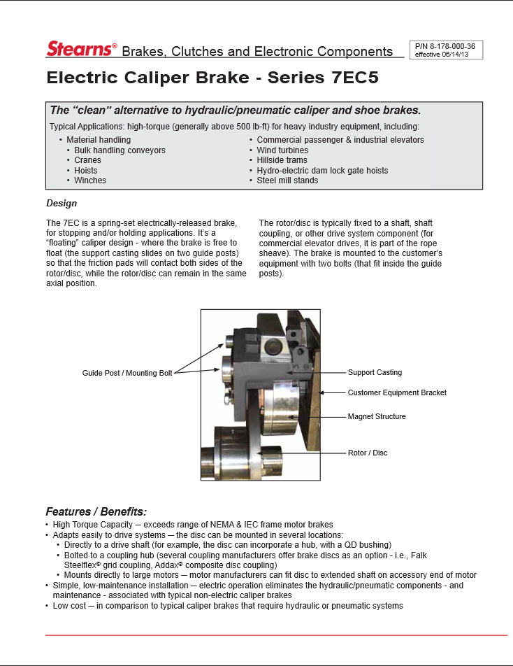 Product Sheet for Electric Caliper Brake Series 7EC5