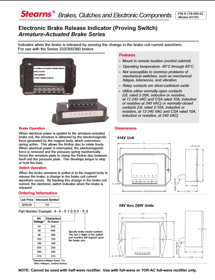 Prodcut Sheet for Electronic Brake Release Indicator (Proving Switch) Armature-Actuated Brake Series