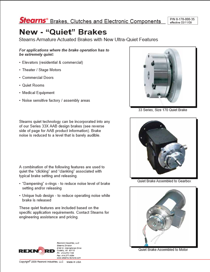 "Product Sheet for 33 Series ""Ultra-Quiet Brake"