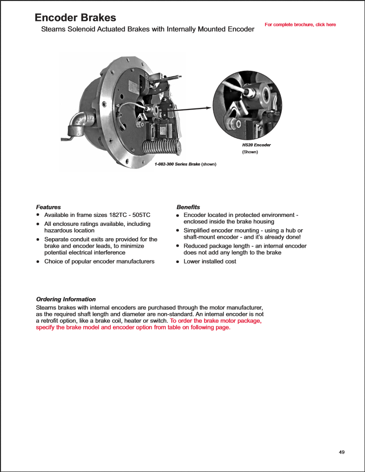 Product Sheet for Encoder Brakes