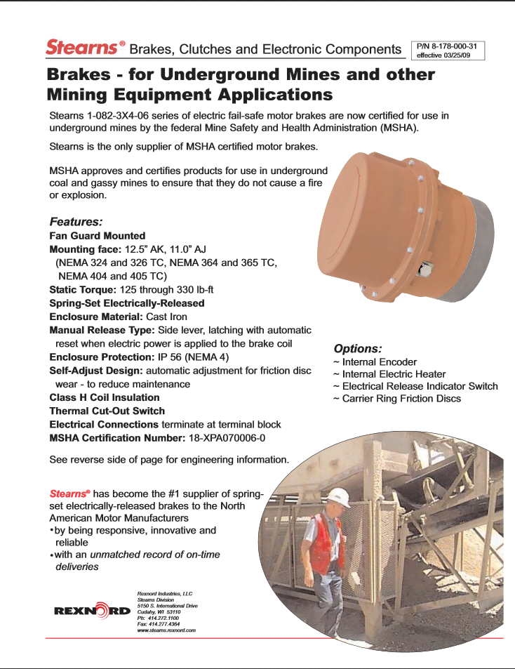 Product Sheet for Brakes for Underground Mines and other Mining Equipment Applications